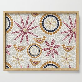 Birds and Flowers Mosaic - Grey, Rust and Red Serving Tray