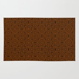Arabesque Ancient Pattern Illustration in Chocolate Coffee Brown Rug