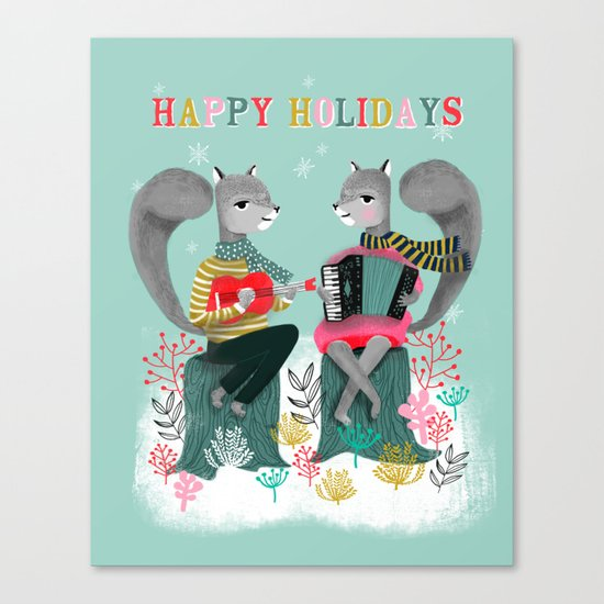 Squirrels' Christmas by Andrea Lauren  Canvas Print