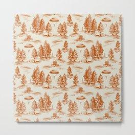 Orange Alien Abduction Toile De Jouy Pattern Metal Print