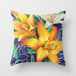Bursting Lilies Throw Pillow