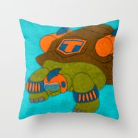 tortoise Throw Pillows featuring Tortoise by subpatch