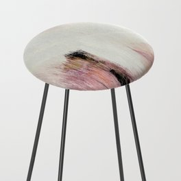 Sunrise [2]: a bright, colorful abstract piece in pink, gold, black,and white Counter Stool