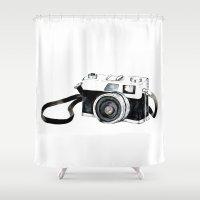 vintage camera Shower Curtains featuring Vintage camera  by Bridget Davidson