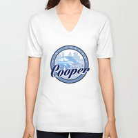 mini cooper V-neck T-shirts featuring Cooper by Barbo's Art
