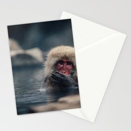 Hot Spring Snow Monkey Stationery Cards