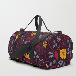 Mustard Yellow, Burgundy & Blue Floral Pattern Duffle Bag