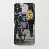 backpack iPhone & iPod Cases featuring Bikes and backpack by RMK Photography