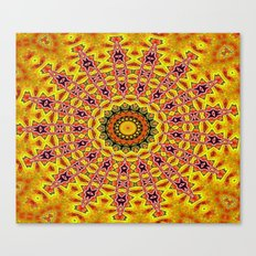 Lovely healing sacred Mandalas in yellow, orange, gold and red with a hint of white Canvas Print