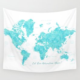 Let our adventure begin aquamarine world map Wall Tapestry