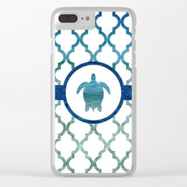 Turtle: Tropical Water Moroccan Pattern Clear iPhone Case