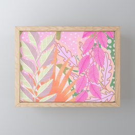 Modern Jungle Plants - Pink Green Purple Framed Mini Art Print