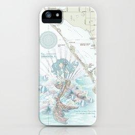 "Sarasota ""Anais Nin"" Mermaid quote area map iPhone Case"