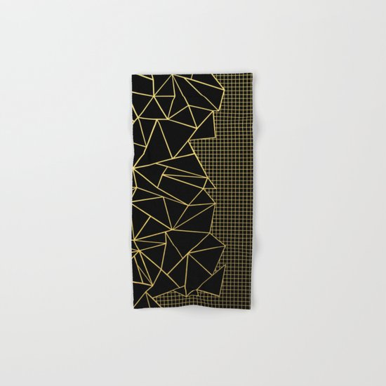 Ab Outline Grid Black and Gold Hand & Bath Towel