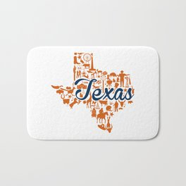 UT Austin Texas Landmark State - Blue and Orange UT Theme Bath Mat
