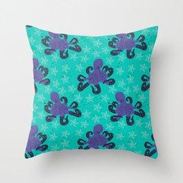 Darien the Hipster Octopus! Throw Pillow