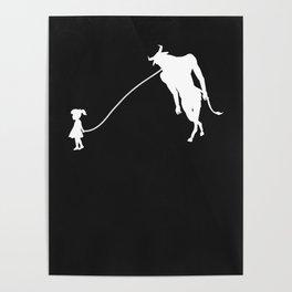 Minotaur Pet Walked By Girl Poster