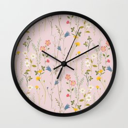 Dreamy Floral Pattern Wall Clock