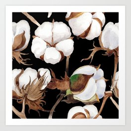 Cotton Flower Pattern 03 Art Print