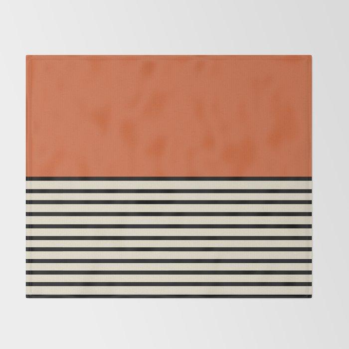 Sunrise / Sunset I - Orange & Black Throw Blanket