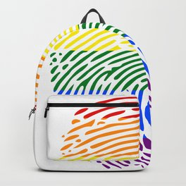 lgbt rights rainbow finger print Backpack
