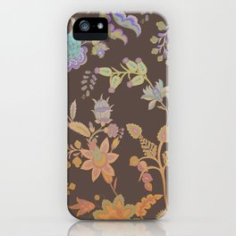 Chateau Brown Chinoiserie Decorative Floral Motif Chintz iPhone Case