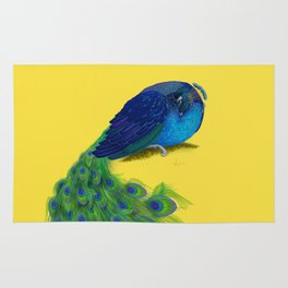 The Beauty That Sleeps - Vertical Peacock Painting Rug