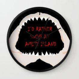 I'd Rather Swim at Amity Island Wall Clock