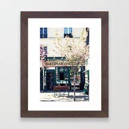 Cherry blossoms in Paris, Shakespeare & Co. Framed Art Print