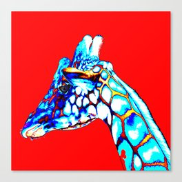 Colorful Giraffe Red (Left facing) Canvas Print