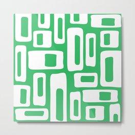 Retro Mid Century Modern Abstract Pattern 335 Green Metal Print