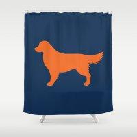 golden retriever Shower Curtains featuring Golden Retriever by Sketchy & Shady