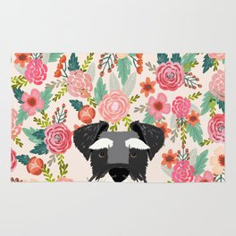 Schnauzer dog head floral background flower schnauzers pet portrait Rug