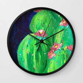 Flowering Prickly Pear Cacus Wall Clock