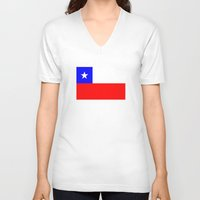 chile V-neck T-shirts featuring Chile country flag by tony tudor