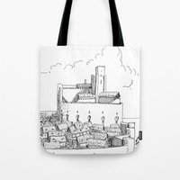 castle Tote Bags featuring Castle by Mr.Willow