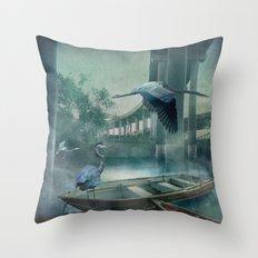 Morning in the Urban Marsh Throw Pillow