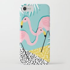 Bro - wacka design memphis throwback minimal retro hipster 1980s 80s neon pop art flamingo lawn iPhone 7 Slim Case