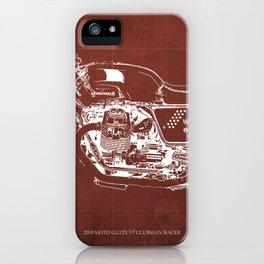 2010 Moto Guzzi V7 Clubman Racer red blueprint iPhone Case