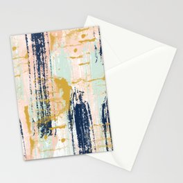 Blush, Gold, Navy, White, Mint Abstract  Stationery Cards