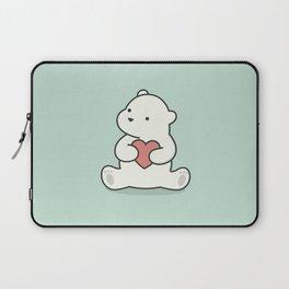 Kawaii Cute Polar Bear With Heart Laptop Sleeve