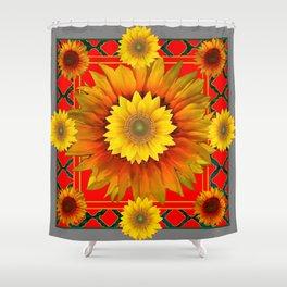 RED-GREY DECO YELLOW SUNFLOWERS MODERN ART Shower Curtain