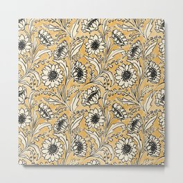 Sunflowers - black and ochre on cream Metal Print