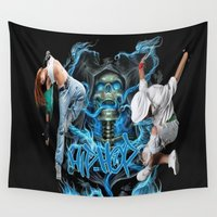 hip hop Wall Tapestries featuring Hip Hop Street Dance by ezmaya