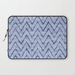 Sky and Ocean Blue Zigzag Imitation Terry Towel Laptop Sleeve