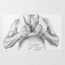 black and white Muscular man ripping t-shirt Rug