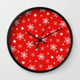 Christmas Red and White Holiday Flower Pattern Wall Clock