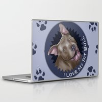 pit bull Laptop & iPad Skins featuring I ❤ My Pit Bull by Nik Ribble