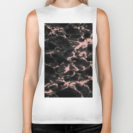 Beautiful Black marble with Glittery Rose Gold Veins Biker Tank