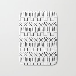 White + Black Mud Cloth Bath Mat